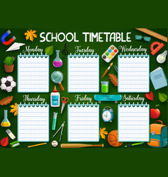 Work schedule on whole week school stationery vector