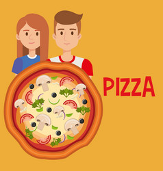 young couple with italian pizza vector image