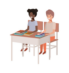 young students sitting in school desk vector image