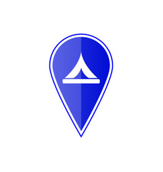 blue map pointer with camp location vector image vector image