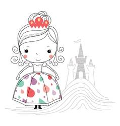 Fairytale princess -rain kids vector image vector image