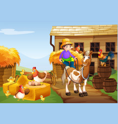 farmer riding horse in the farm vector image