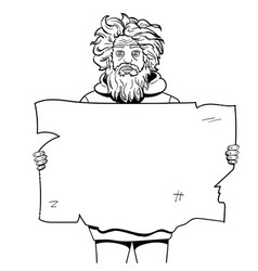 homeless man with paper sign style vector image