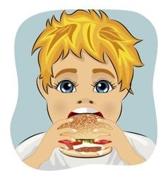 obese fat boy eating chicken cheese hamburger vector image