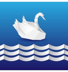 origami swan vector image vector image