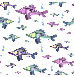seamless pattern of colorful fish vector image