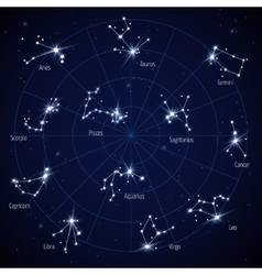 sky star map with constellations stars vector image