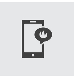 Smartphone flame icon vector image