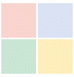 Colorful seamless patterns polka dots set vector image vector image