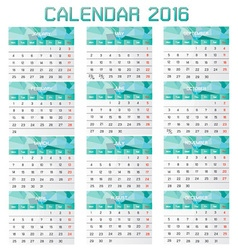 Collection of Calendar 2016 Design Template vector image vector image