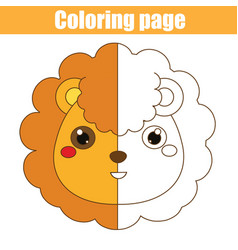 Coloring page with lion drawing kids game vector