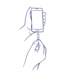connect the charger to smart mobile phone vector image