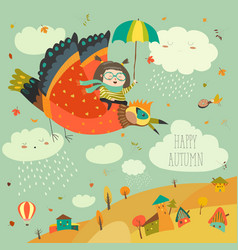 little girl flying in the sky with funny birds vector image vector image
