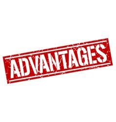 Advantages square grunge stamp vector