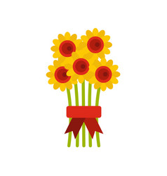 bouquet of flowers icon flat style vector image
