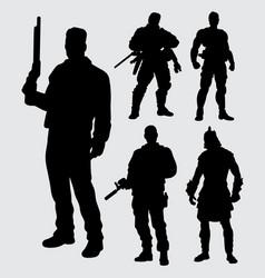 Hero with gun silhouette vector