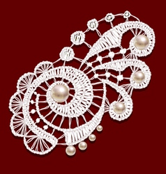Openwork lace with pearls Realistic vector image vector image
