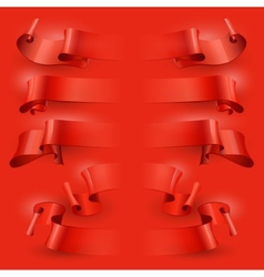 ribbons set on a red background vector image vector image
