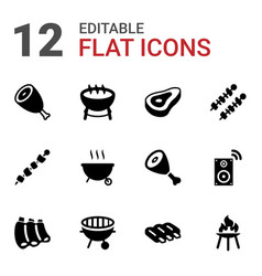 12 grill icons vector