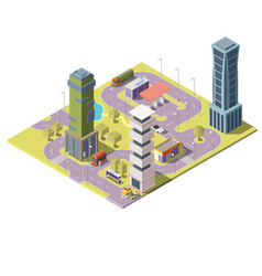 3d isometric map of city with buildings vector image