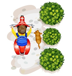 A topview of a boy riding a motorcyle vector