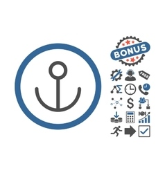 Anchor Flat Icon With Bonus vector