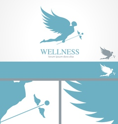 Angel wellness medical logo concept template vector