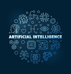 Artificial intelligence blue line round vector