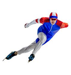 Athlete skater in speed skating vector
