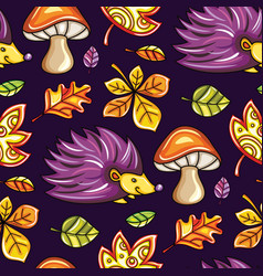 Autumn seamless pattern with chestnut and oak vector