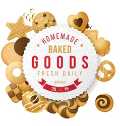 Baked goods label with type design vector