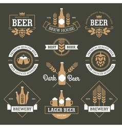 Beer emblems on dark green background vector image