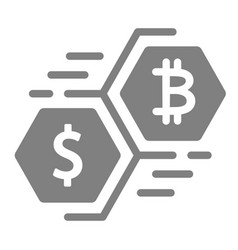 bitcoin and dollar moving currency solid icon vector image