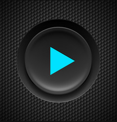 black button with blue play sign on carbon vector image