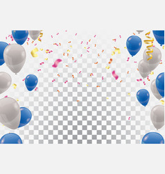 blue balloons and white balloons celebration vector image
