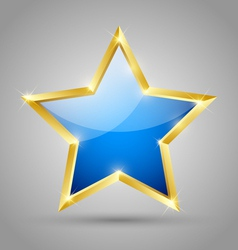 Blue glossy star vector image