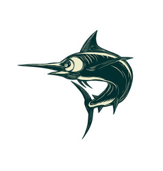 Blue marlin jump scratchboard vector