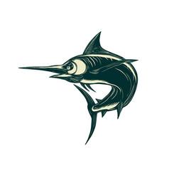 blue marlin jump scratchboard vector image