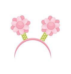 Bright pink hair hoop with flowers on spiral vector