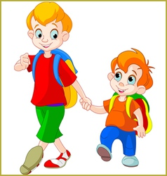 brothers go to school vector image