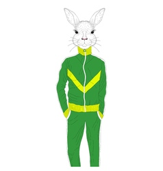 Brutal rabbit boy in sport suit 90s Hand drawn vector