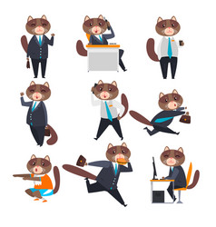 Businessman cat in different situations humanized vector
