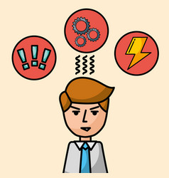 businessman portrait character angry brainstorm vector image
