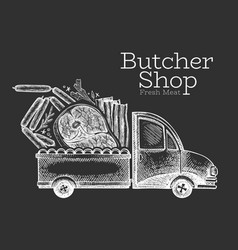 Butcher shop delivery logo template hand drawn vector
