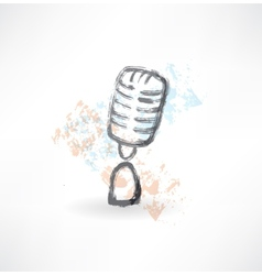 cartoon microphone grunge icon vector image