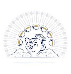 cartoon style smile cook portrait vector image