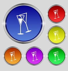 champagne glass icon sign Round symbol on bright vector image