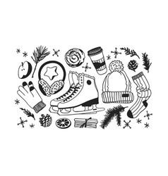 christmas card with racing skates fur headphones vector image