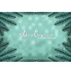 Christmas fir frame snow background vector