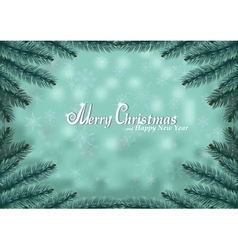 Christmas fir frame snow background vector image